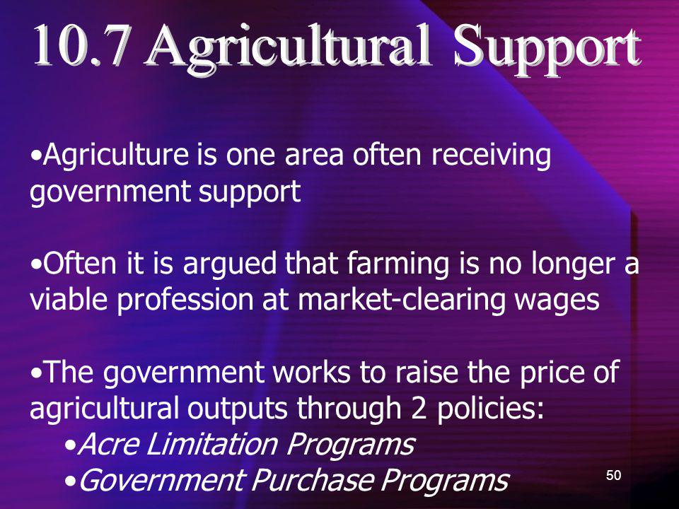 10.7 Agricultural Support Agriculture is one area often receiving government support.