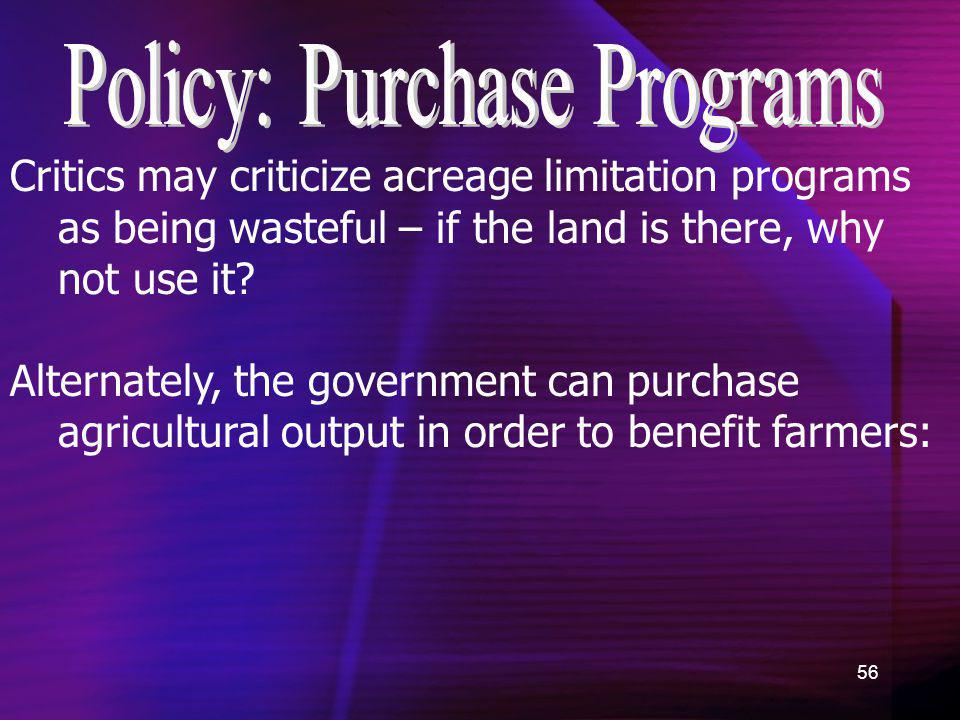 Policy: Purchase Programs