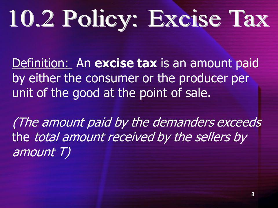 10.2 Policy: Excise Tax