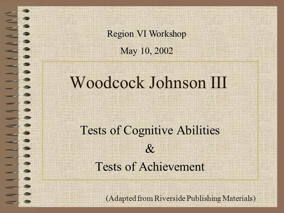 Tests Of Cognitive Abilities Tests Of Achievement