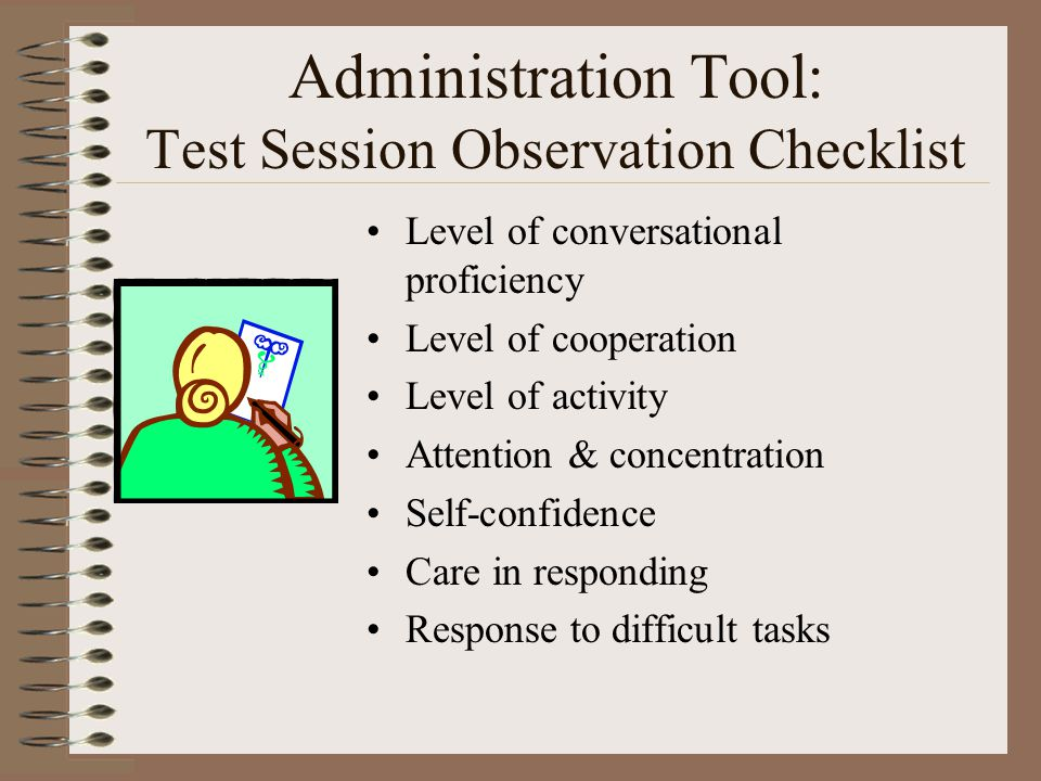 Administration Tool: Test Session Observation Checklist