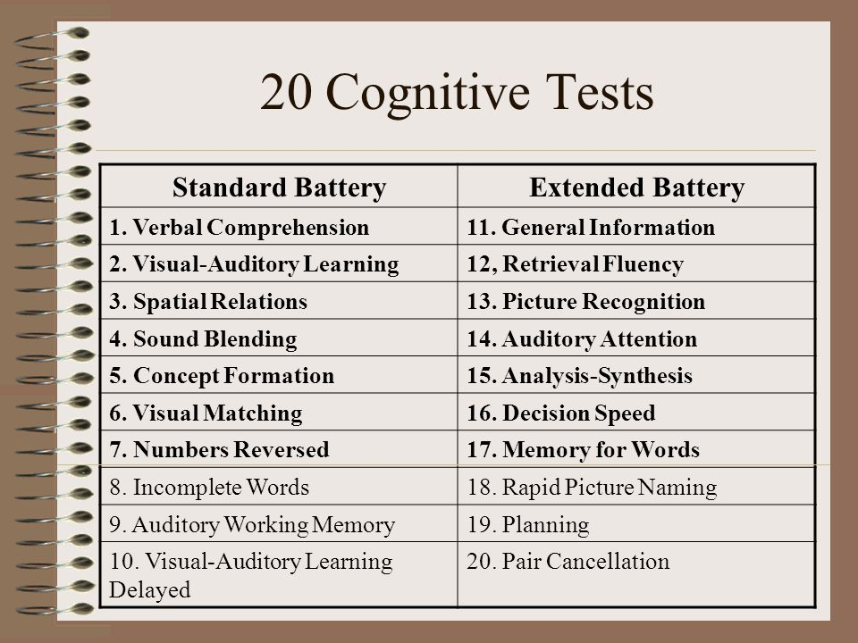 20 Cognitive Tests Standard Battery Extended Battery