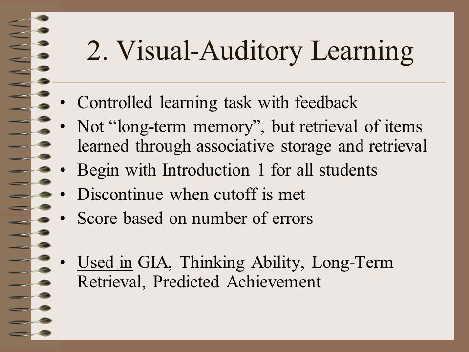 2. Visual-Auditory Learning