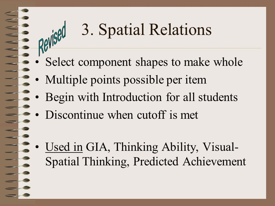 3. Spatial Relations Revised Select component shapes to make whole