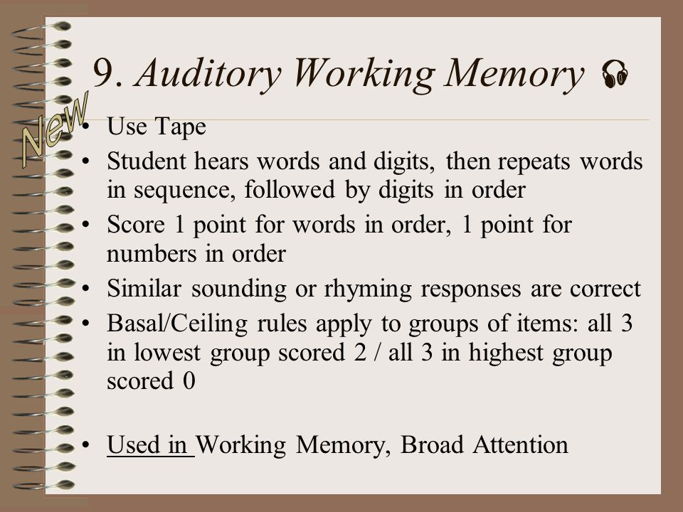 9. Auditory Working Memory 
