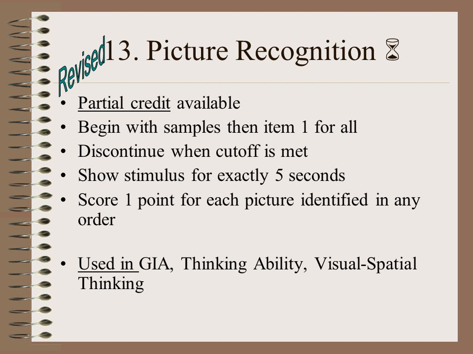 13. Picture Recognition  Revised Partial credit available