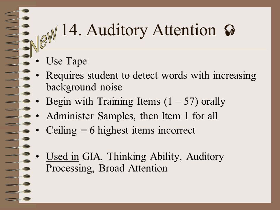14. Auditory Attention  New Use Tape