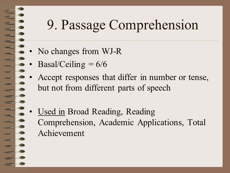9. Passage Comprehension