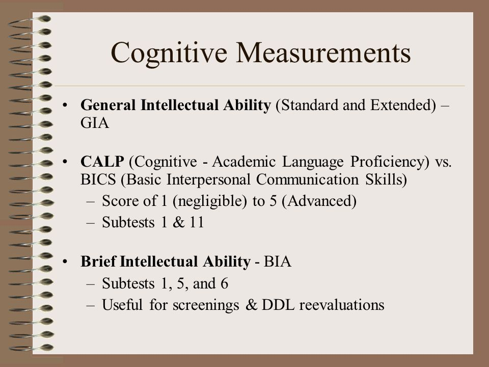Cognitive Measurements