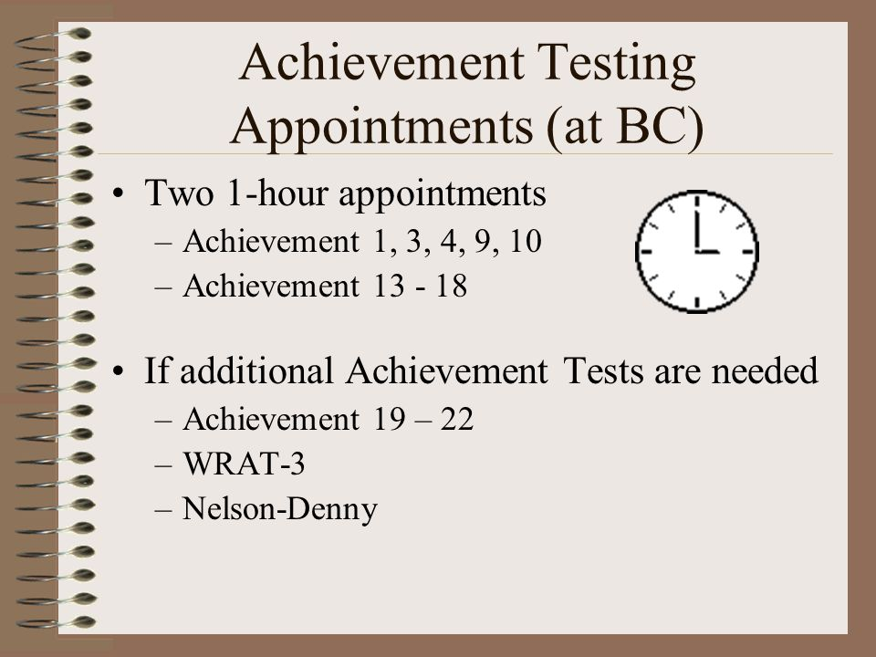 Achievement Testing Appointments (at BC)