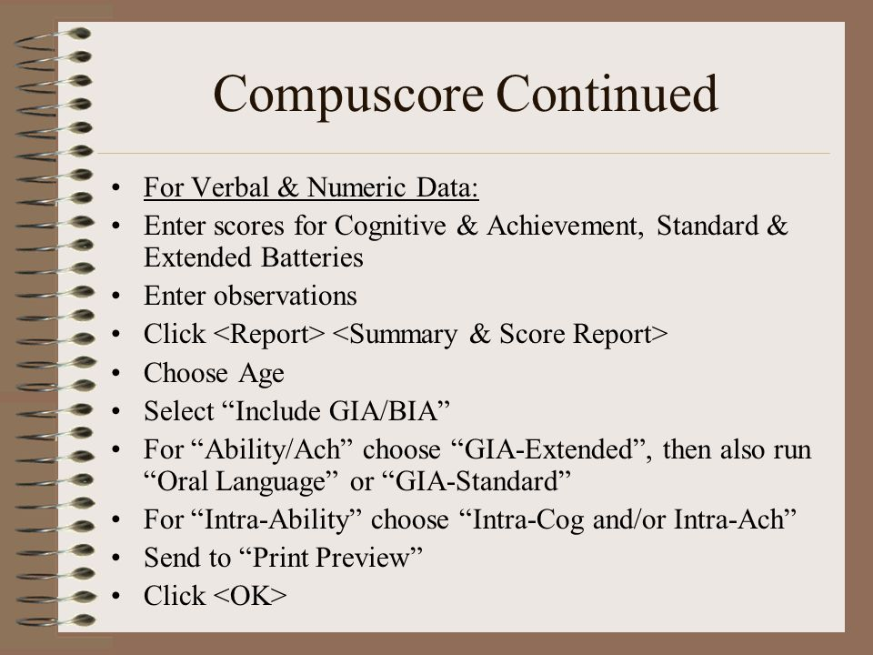 Compuscore Continued For Verbal & Numeric Data: