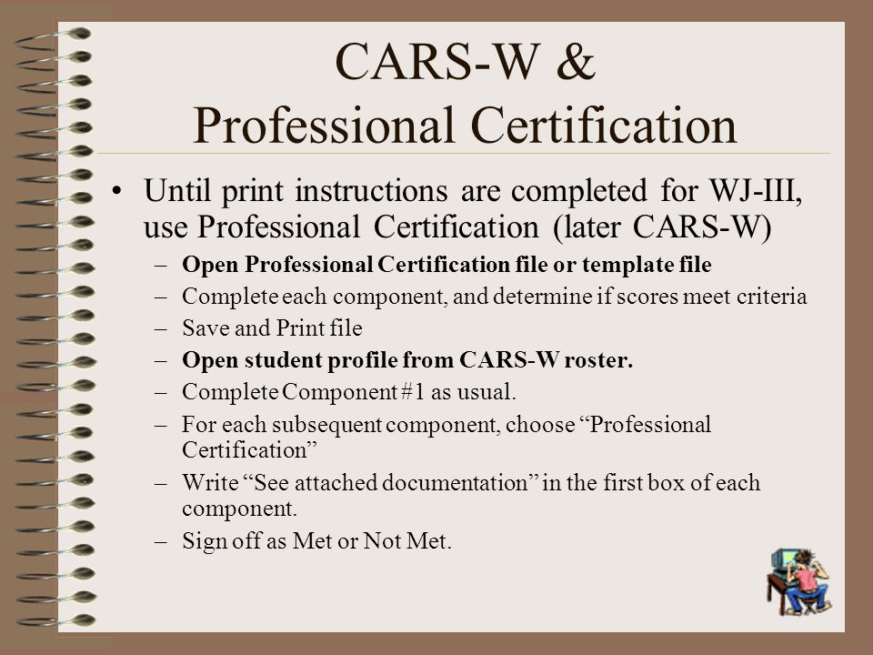 CARS-W & Professional Certification