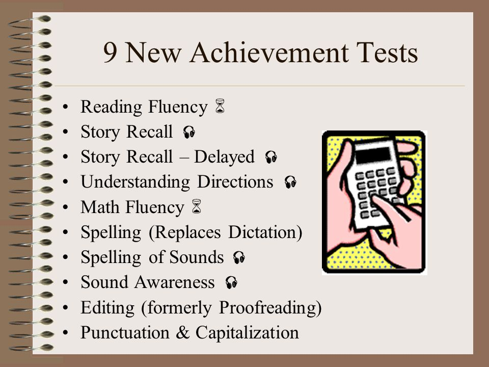 9 New Achievement Tests Reading Fluency  Story Recall 