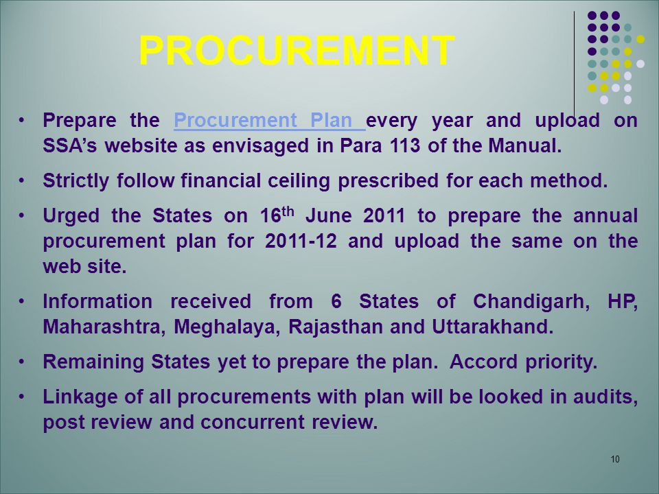 PROCUREMENT Prepare the Procurement Plan every year and upload on SSA's website as envisaged in Para 113 of the Manual.