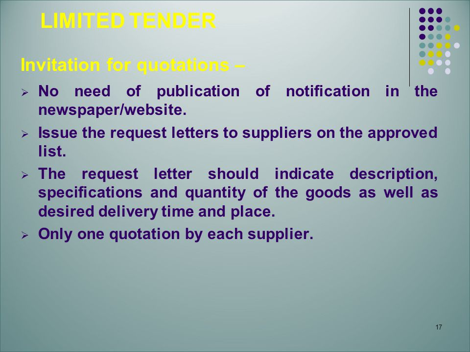 LIMITED TENDER Invitation for quotations –