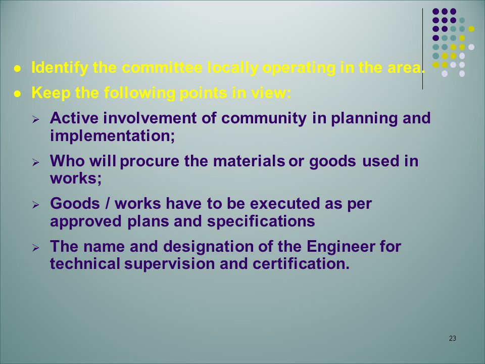 Identify the committee locally operating in the area.