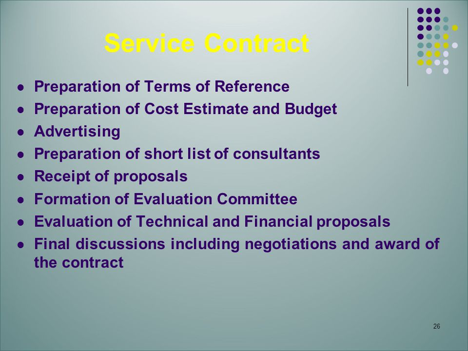 Service Contract Preparation of Terms of Reference