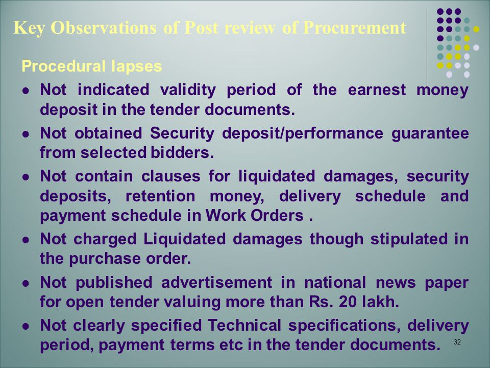 Key Observations of Post review of Procurement