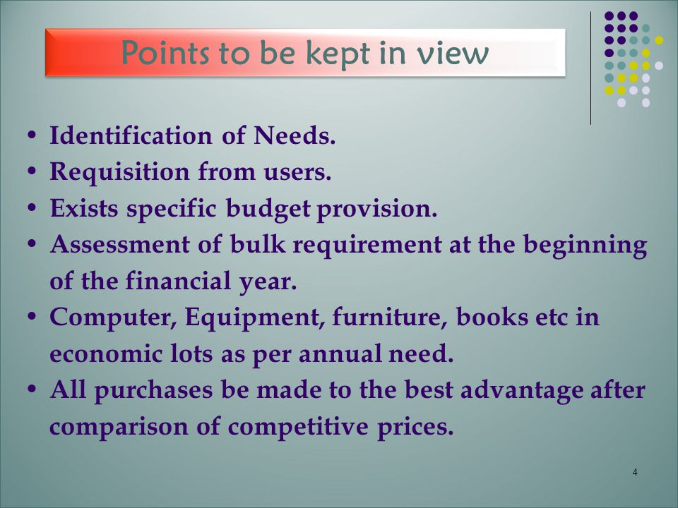 Points to be kept in view