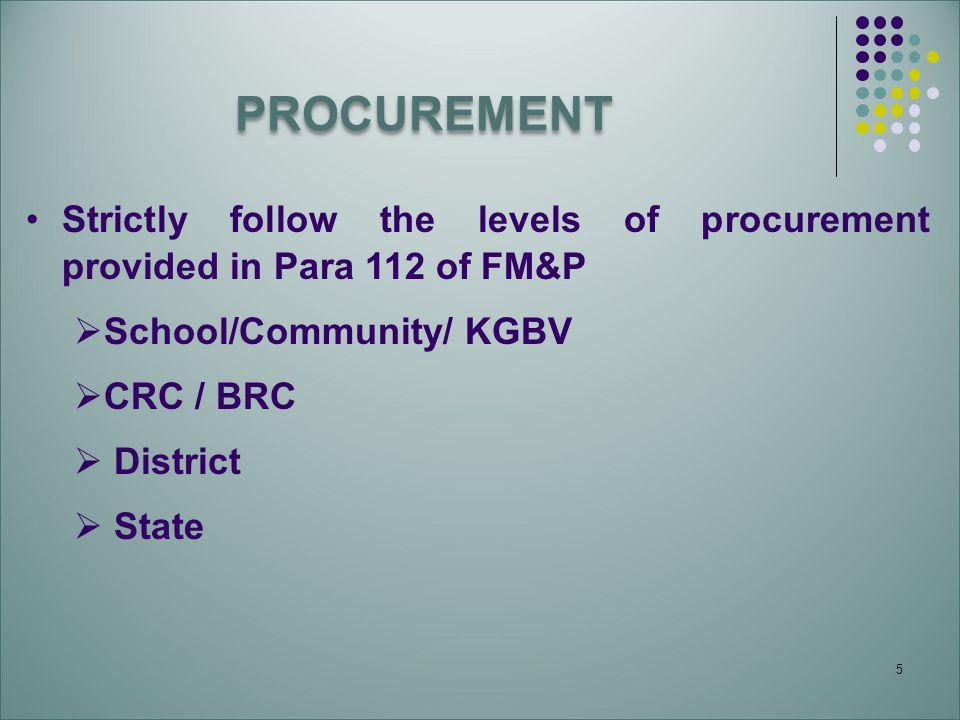 PROCUREMENT Strictly follow the levels of procurement provided in Para 112 of FM&P. School/Community/ KGBV.