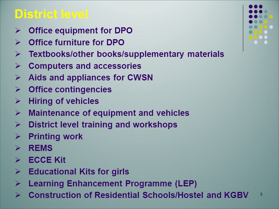 District level Office equipment for DPO Office furniture for DPO
