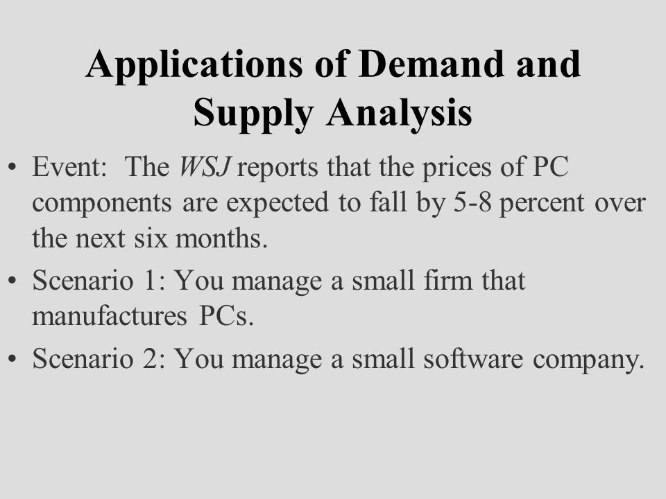Applications of Demand and Supply Analysis