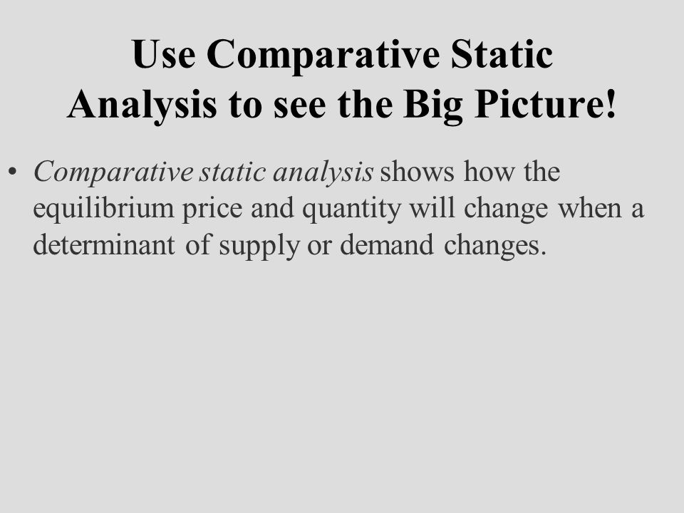 Use Comparative Static Analysis to see the Big Picture!