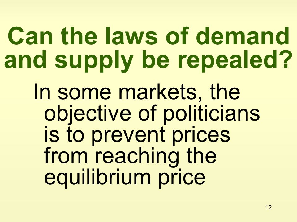 Can the laws of demand and supply be repealed