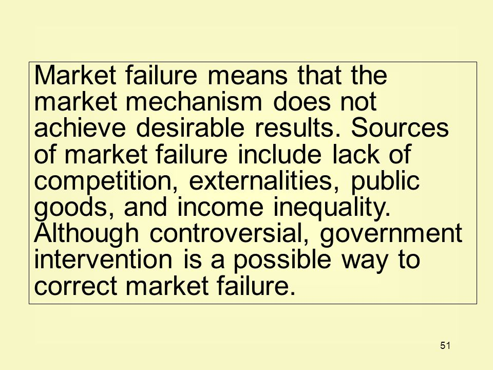 Market failure means that the market mechanism does not achieve desirable results.