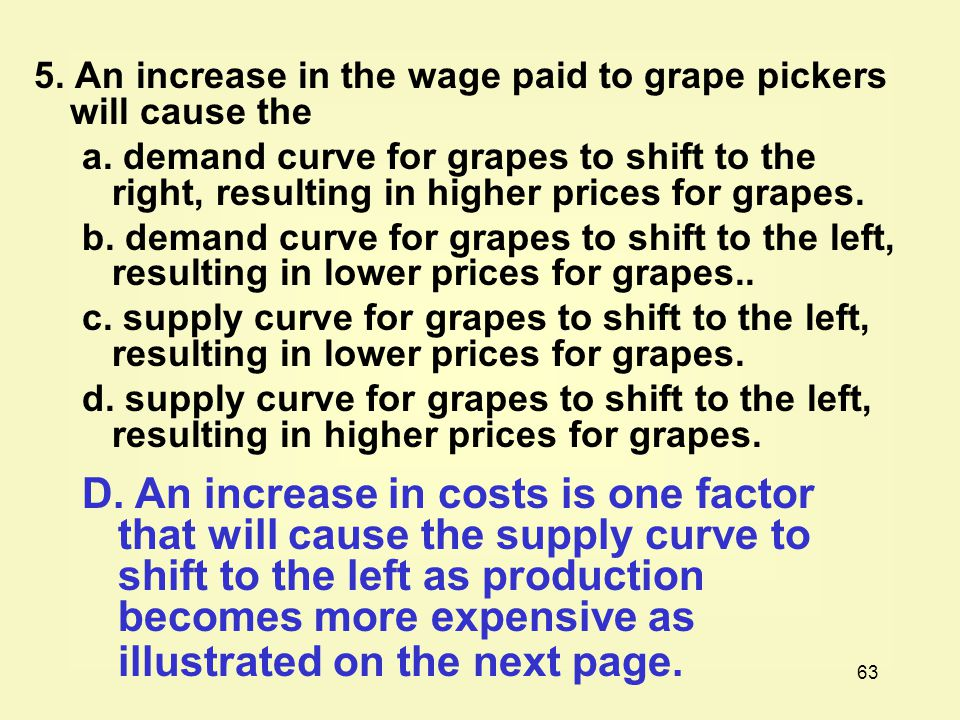 5. An increase in the wage paid to grape pickers will cause the