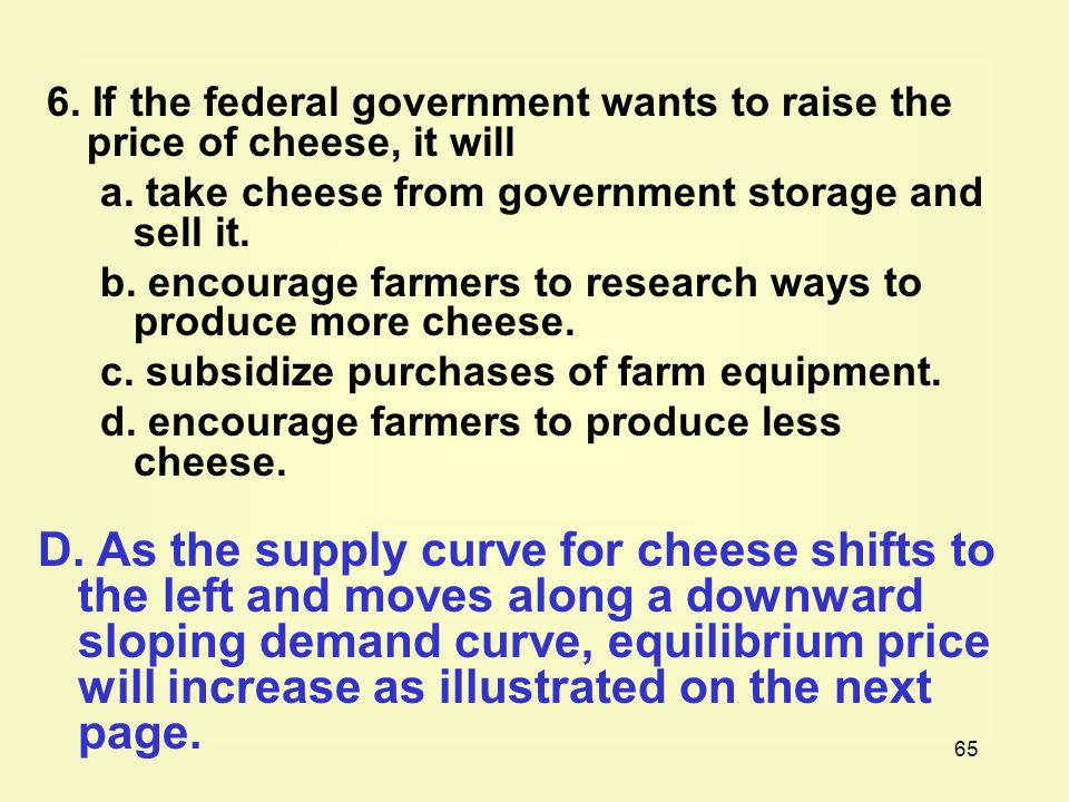 6. If the federal government wants to raise the price of cheese, it will