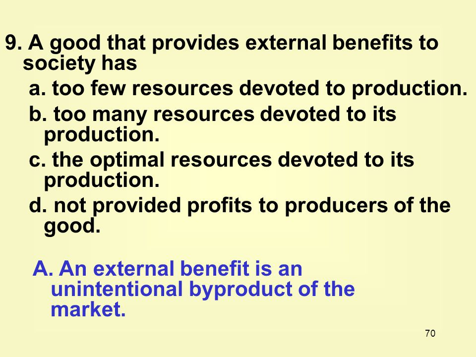 9. A good that provides external benefits to society has