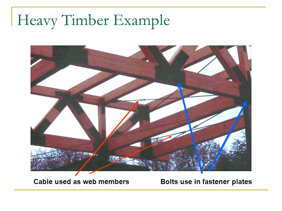 Heavy Timber Example Cable used as web members