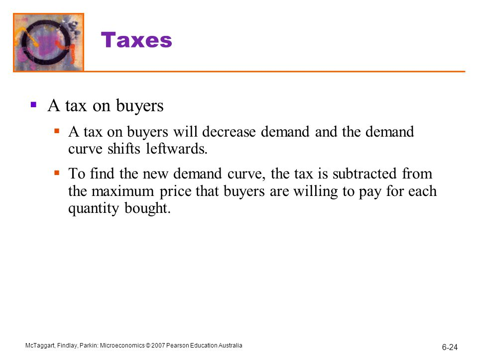 Taxes A tax on buyers. A tax on buyers will decrease demand and the demand curve shifts leftwards.