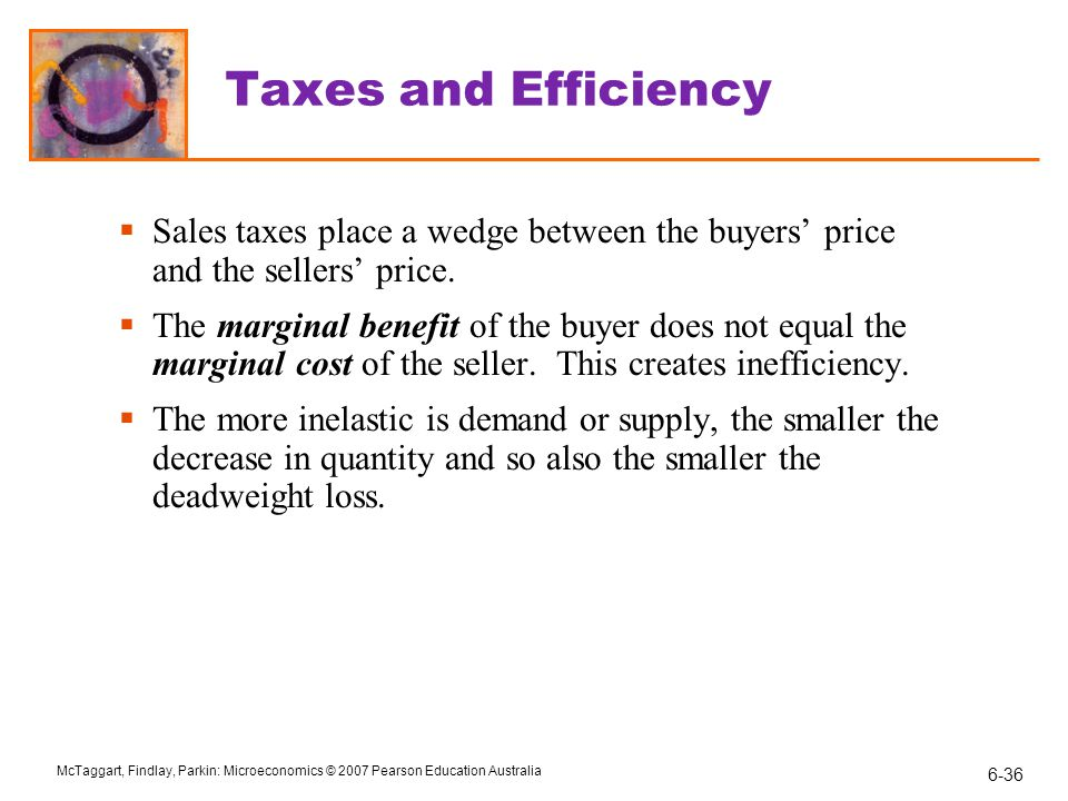 Taxes and Efficiency Sales taxes place a wedge between the buyers' price and the sellers' price.