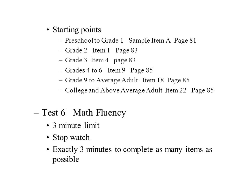 Test 6 Math Fluency Starting points 3 minute limit Stop watch