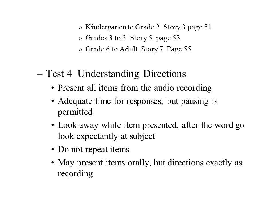 Test 4 Understanding Directions