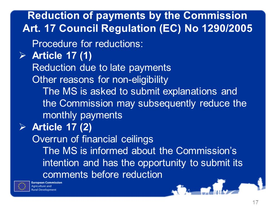 Reduction of payments by the Commission Art
