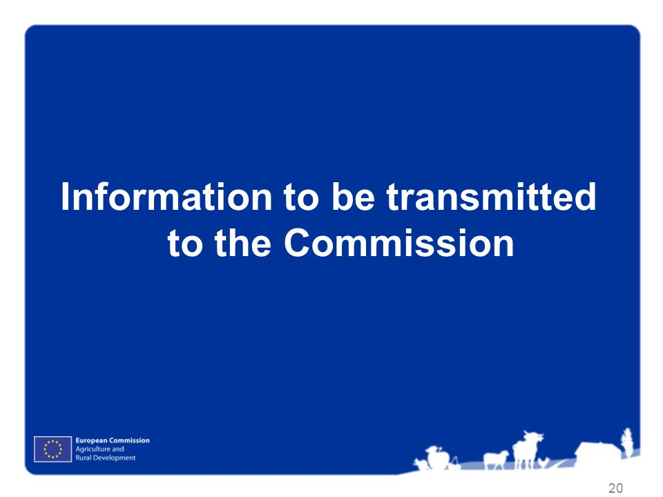 Information to be transmitted to the Commission
