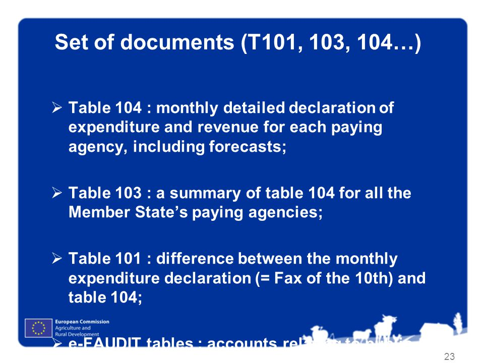 Set of documents (T101, 103, 104…) Table 104 : monthly detailed declaration of expenditure and revenue for each paying agency, including forecasts;
