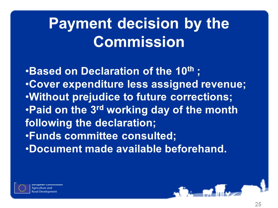 Payment decision by the Commission