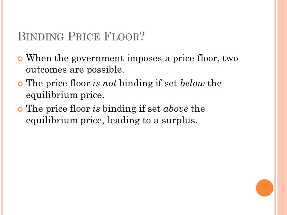 Binding Price Floor When the government imposes a price floor, two outcomes are possible.