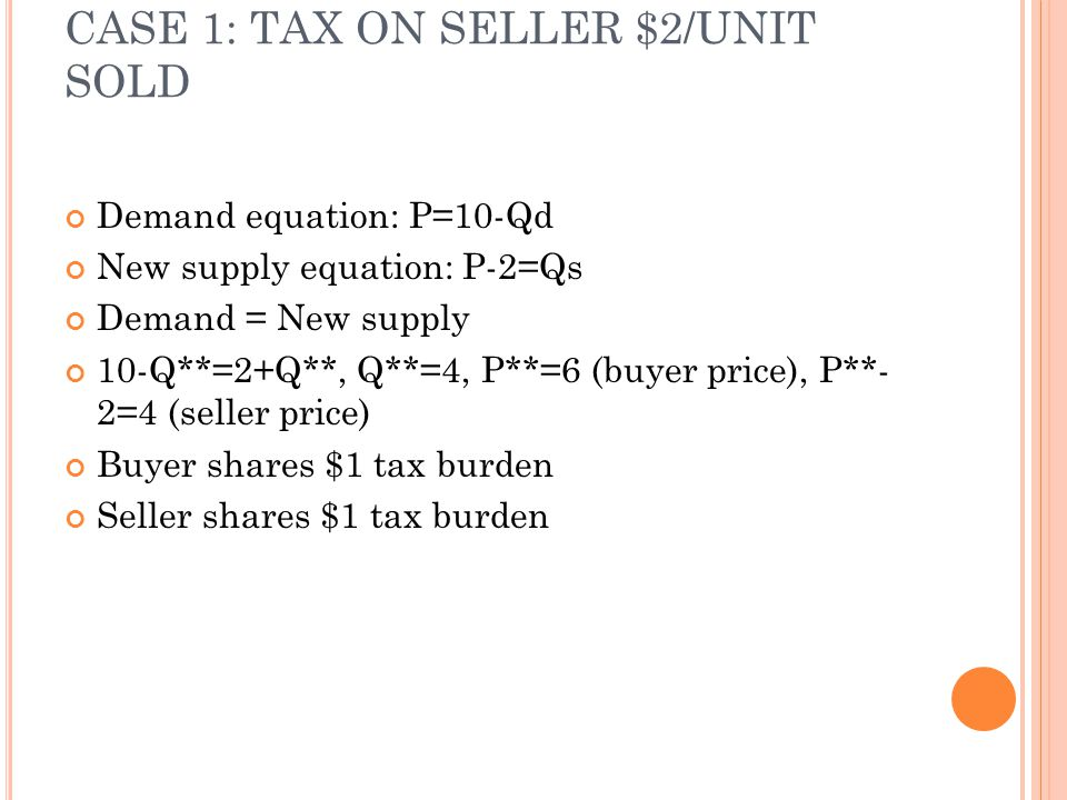 CASE 1: TAX ON SELLER $2/UNIT SOLD