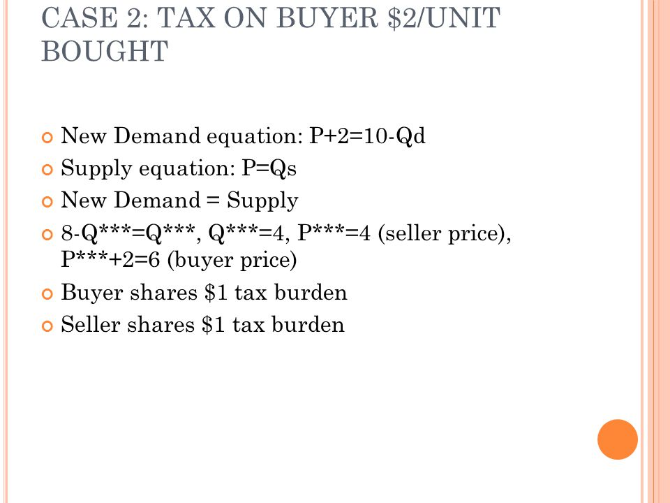 CASE 2: TAX ON BUYER $2/UNIT BOUGHT