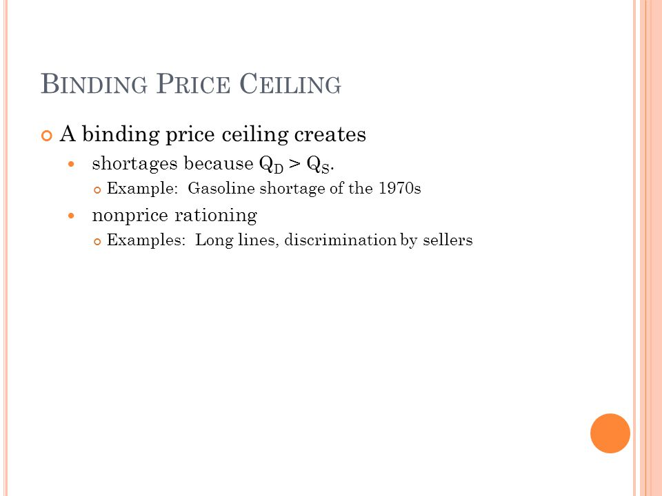Binding Price Ceiling A binding price ceiling creates