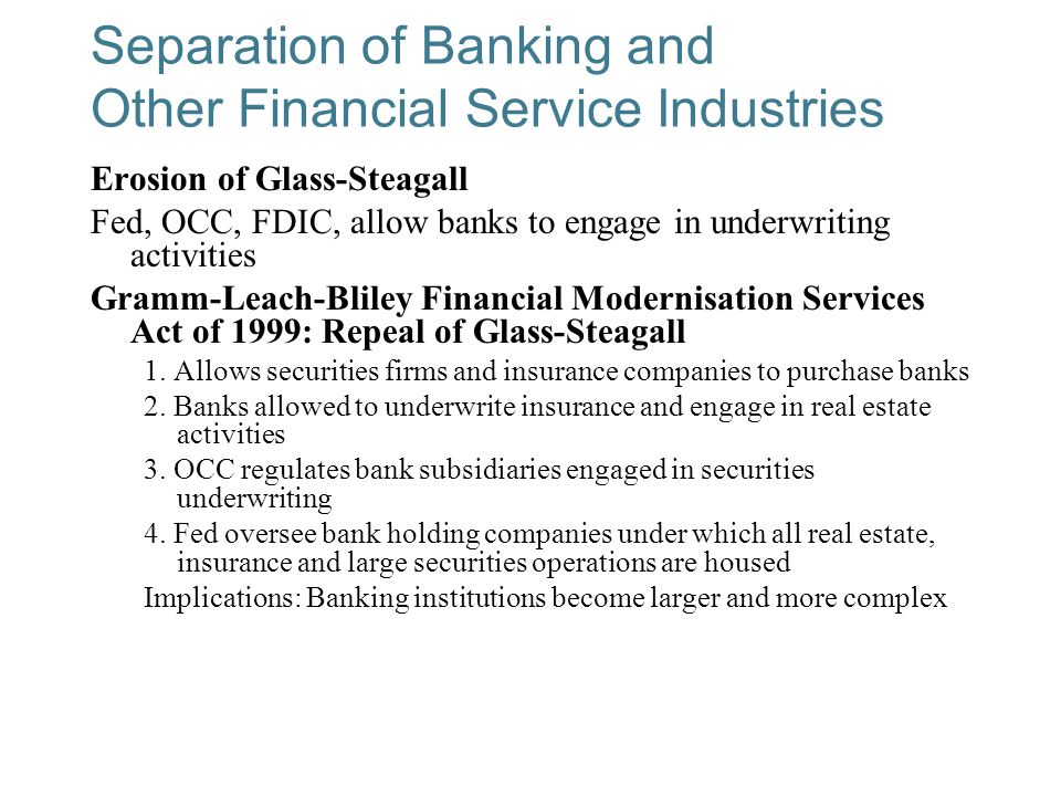 Separation of Banking and Other Financial Service Industries