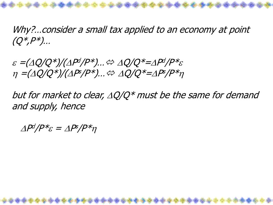 Why …consider a small tax applied to an economy at point (Q*,P*)…