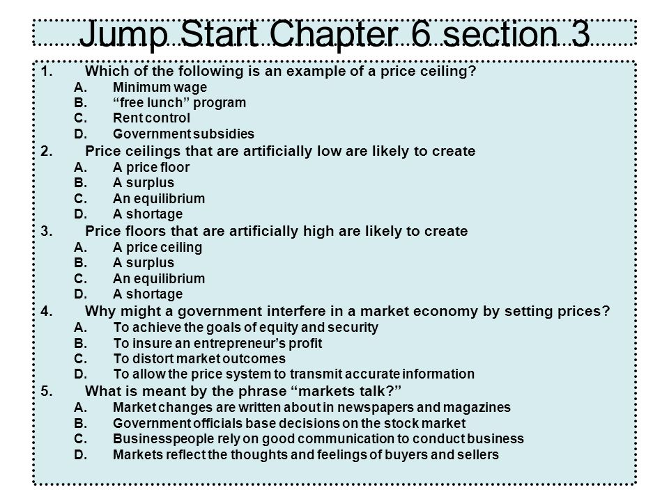 Jump Start Chapter 6 section 3