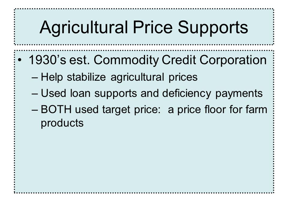 Agricultural Price Supports