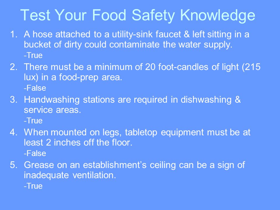 Test Your Food Safety Knowledge